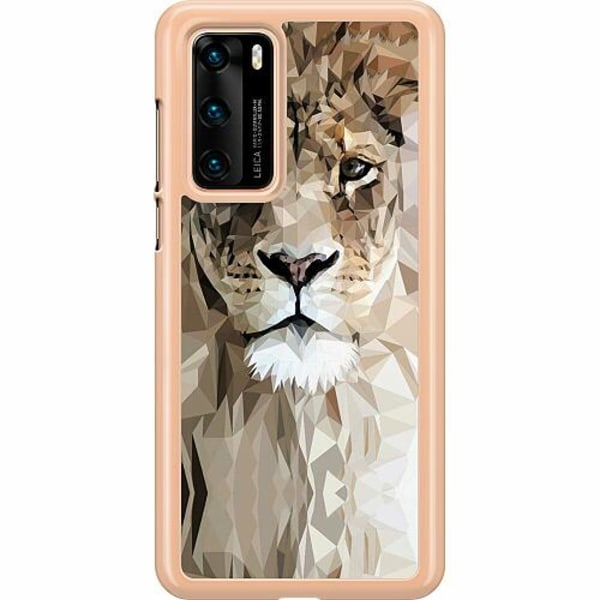 Huawei P40 Hard Case (Transparent) Abstract Lion