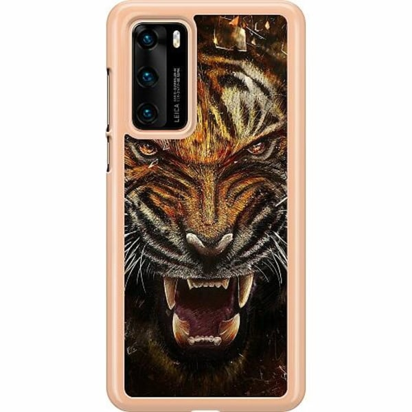 Huawei P40 Hard Case (Transparent) Angry Tiger