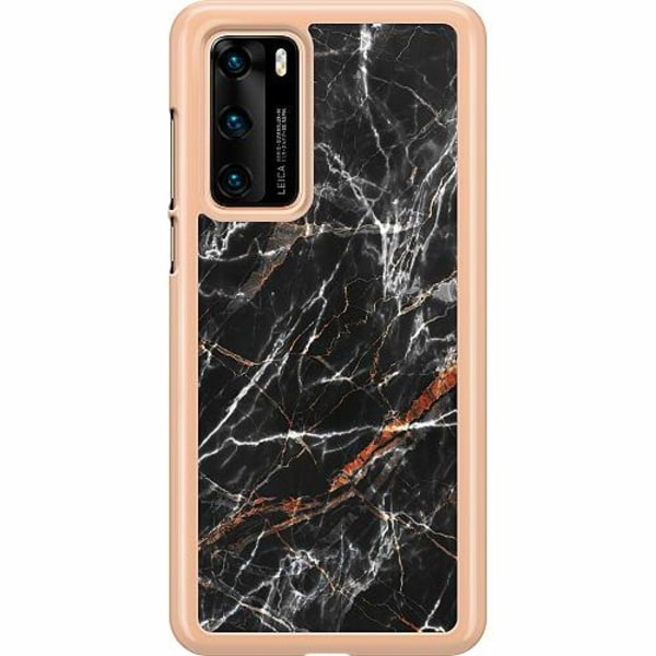 Huawei P40 Hard Case (Transparent) BL4CK MARBLE