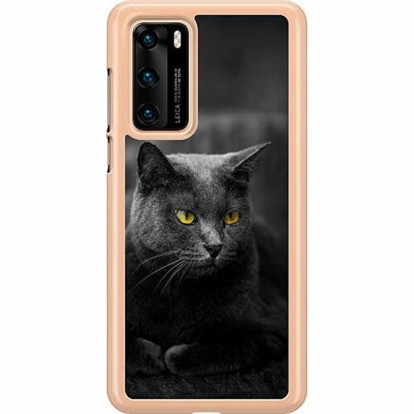 Huawei P40 Hard Case (Transparent) Black Cat