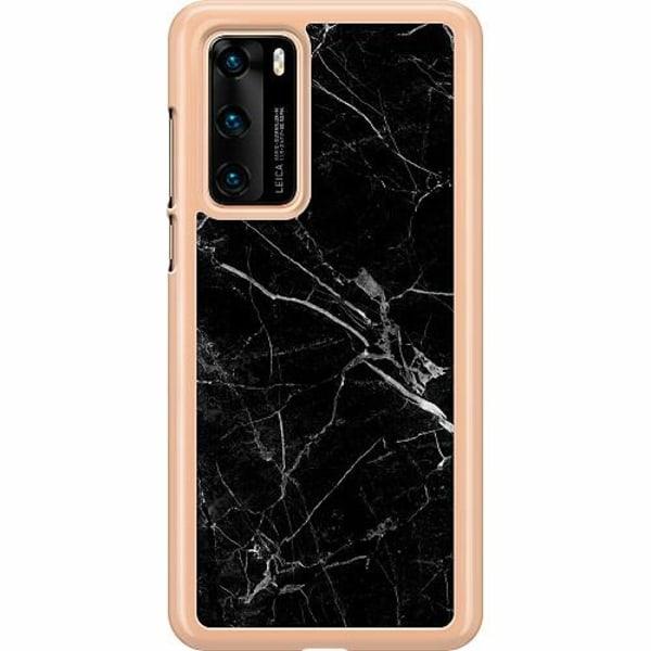 Huawei P40 Hard Case (Transparent) black marble