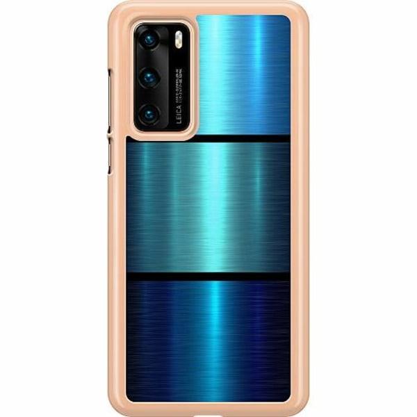 Huawei P40 Hard Case (Transparent) Blue Metallic Stripes
