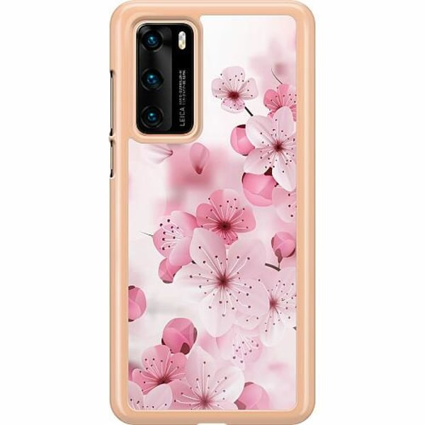 Huawei P40 Hard Case (Transparent) Cherry Blossom