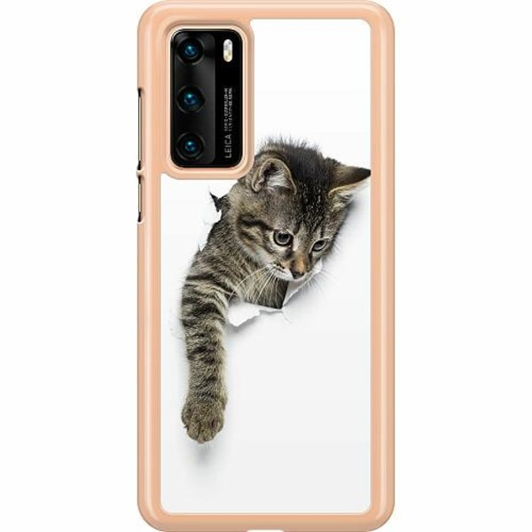 Huawei P40 Hard Case (Transparent) Curious Kitten