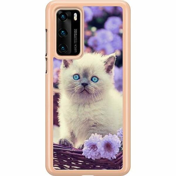 Huawei P40 Hard Case (Transparent) Cute Kitten