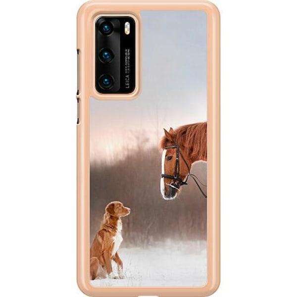 Huawei P40 Hard Case (Transparent) Dog Meets Horse