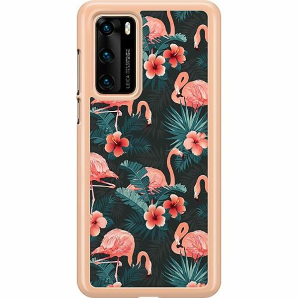Huawei P40 Hard Case (Transparent) Flamingo Fever