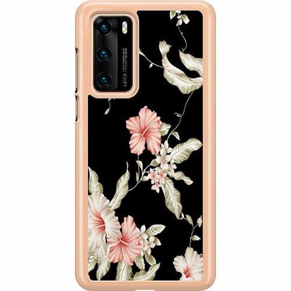 Huawei P40 Hard Case (Transparent) Floral Pattern Black