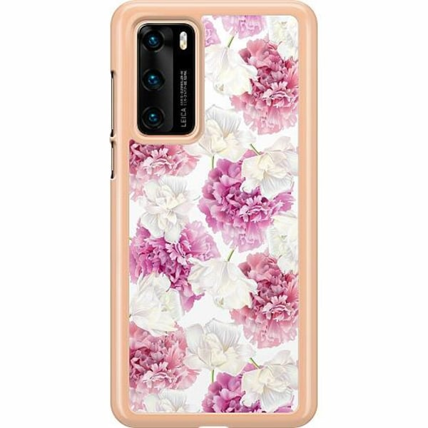 Huawei P40 Hard Case (Transparent) Fluffy Flowers