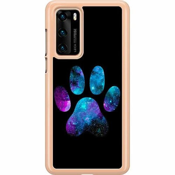 Huawei P40 Hard Case (Transparent) Galaxy Paw