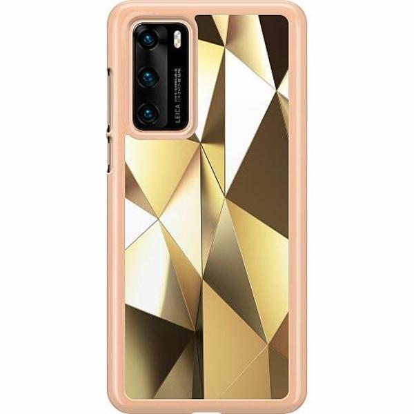 Huawei P40 Hard Case (Transparent) Golden Pattern