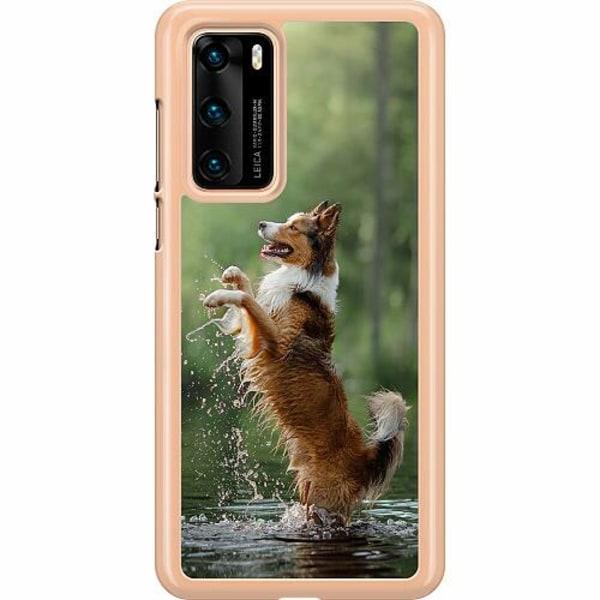 Huawei P40 Hard Case (Transparent) Happy Dog