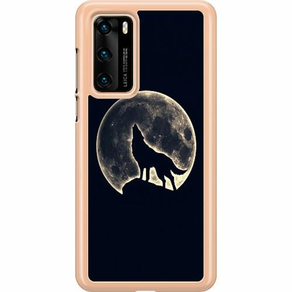 Huawei P40 Hard Case (Transparent) Howling Moon Wolf