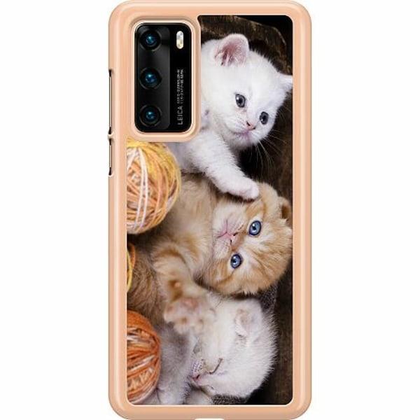 Huawei P40 Hard Case (Transparent) Kittens and Yarn