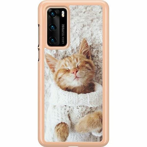 Huawei P40 Hard Case (Transparent) Kitty Sweater