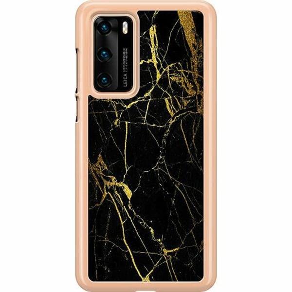 Huawei P40 Hard Case (Transparent) Marble Black&Gold