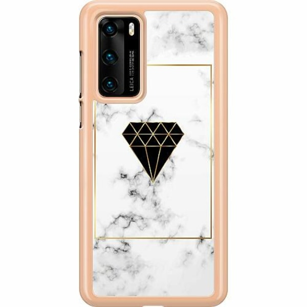 Huawei P40 Hard Case (Transparent) Marble Diamond