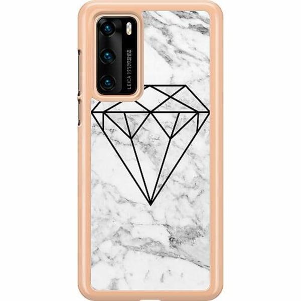 Huawei P40 Hard Case (Transparent) Marmor Diamant