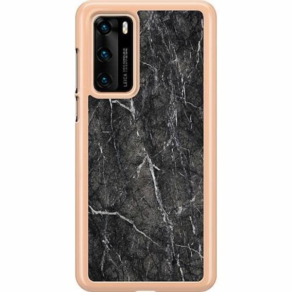 Huawei P40 Hard Case (Transparent) Marmor Svart