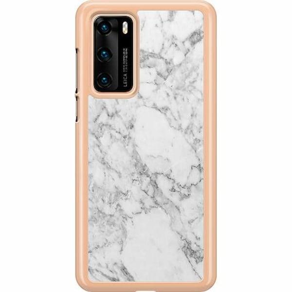 Huawei P40 Hard Case (Transparent) Marmor Vit