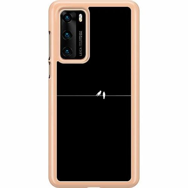 Huawei P40 Hard Case (Transparent) Minimalist Birds Black