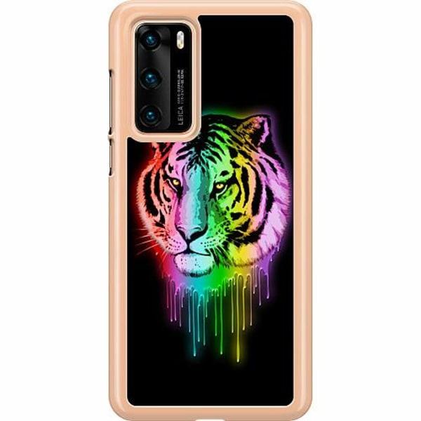 Huawei P40 Hard Case (Transparent) Neon Tiger