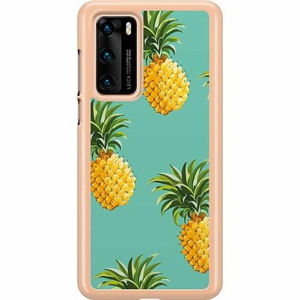 Huawei P40 Hard Case (Transparent) Pineapples Teal