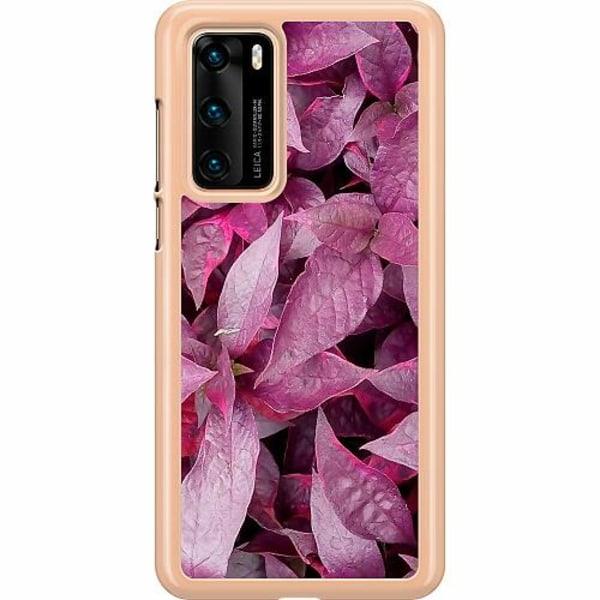 Huawei P40 Hard Case (Transparent) Pink Shrubs