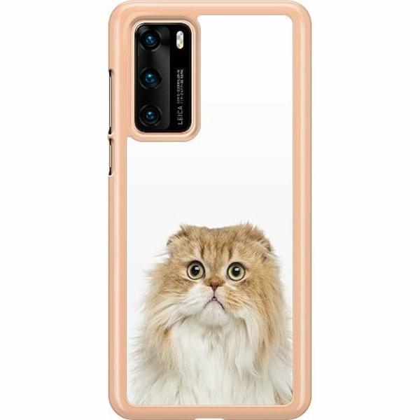 Huawei P40 Hard Case (Transparent) PopUp Scared Cat