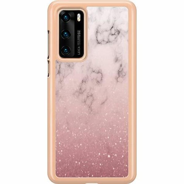 Huawei P40 Hard Case (Transparent) Soft Pink Marble