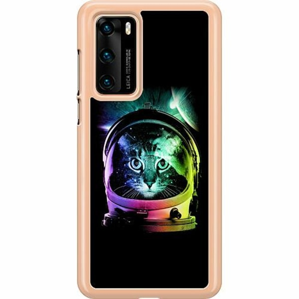 Huawei P40 Hard Case (Transparent) Space Cat