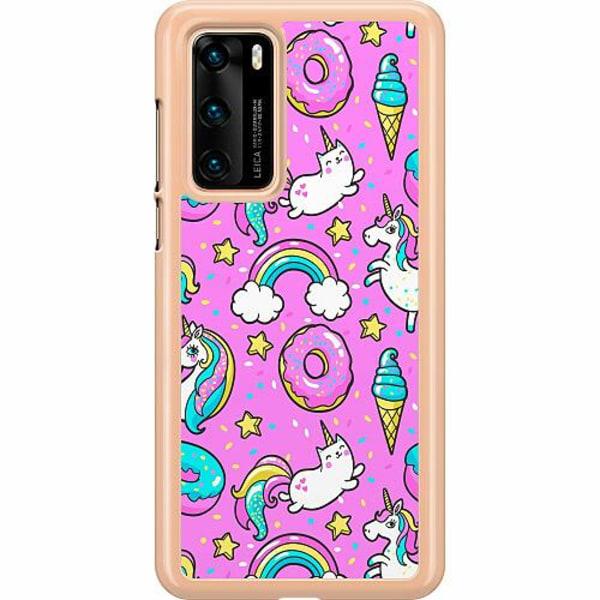 Huawei P40 Hard Case (Transparent) Unicorns
