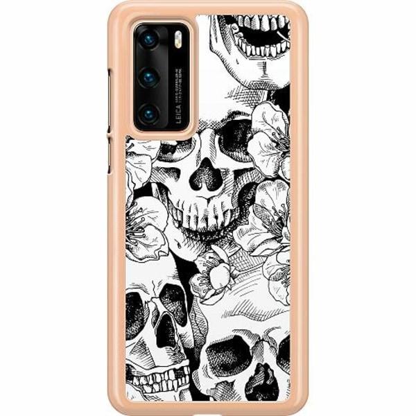 Huawei P40 Hard Case (Transparent) White Skulls & Flowers