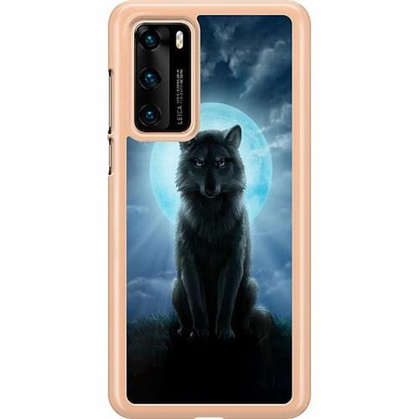 Huawei P40 Hard Case (Transparent) Wolf in the Dark