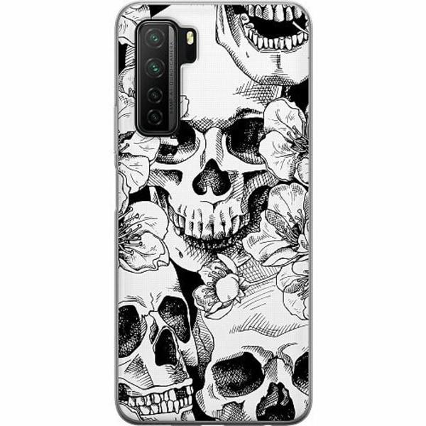 Huawei P40 Lite 5G Mjukt skal - White Skulls & Flowers