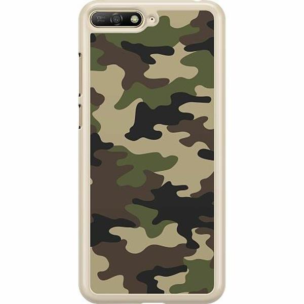 Huawei Y6 (2018) Hard Case (Transparent) Woodland Camo