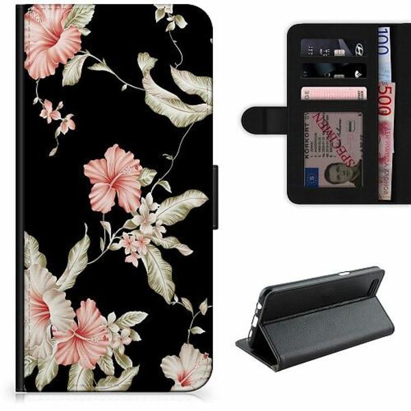 Samsung Galaxy A12 Lyxigt Fodral Floral Pattern Black