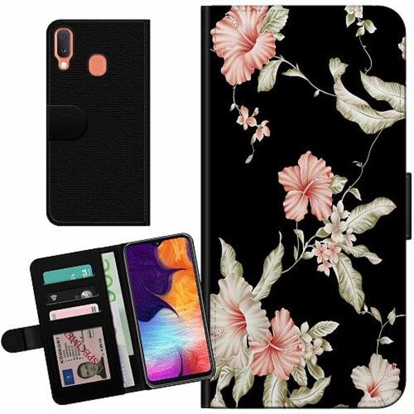 Samsung Galaxy A20e Billigt Fodral Floral Pattern Black