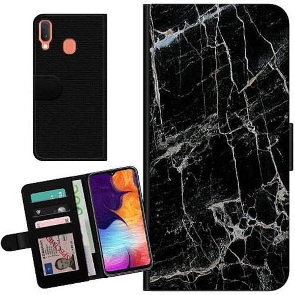 Samsung Galaxy A20e Billigt Fodral Marmor Svart
