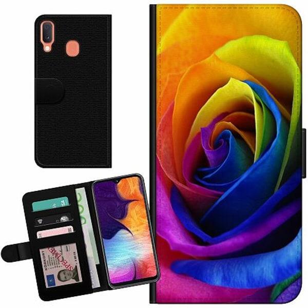 Samsung Galaxy A20e Billigt Fodral Rainbow Rose