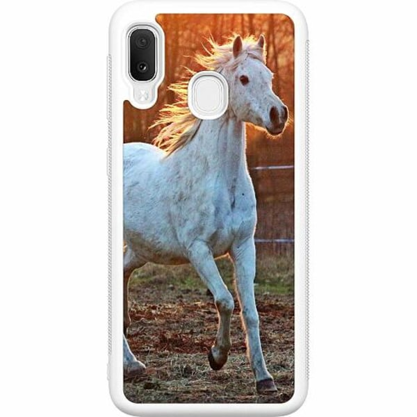 Samsung Galaxy A20e Soft Case (Vit) Häst / Horse