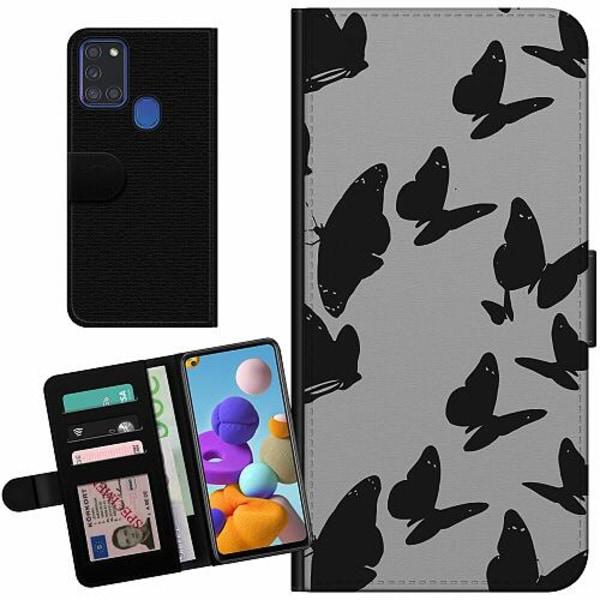 Samsung Galaxy A21s Billigt Fodral Dark Butterflies