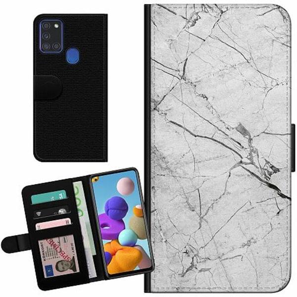 Samsung Galaxy A21s Billigt Fodral Marmor Vit