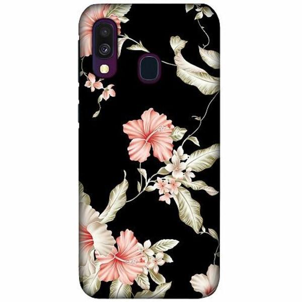 Samsung Galaxy A40 LUX Mobilskal (Matt) Floral Pattern Black