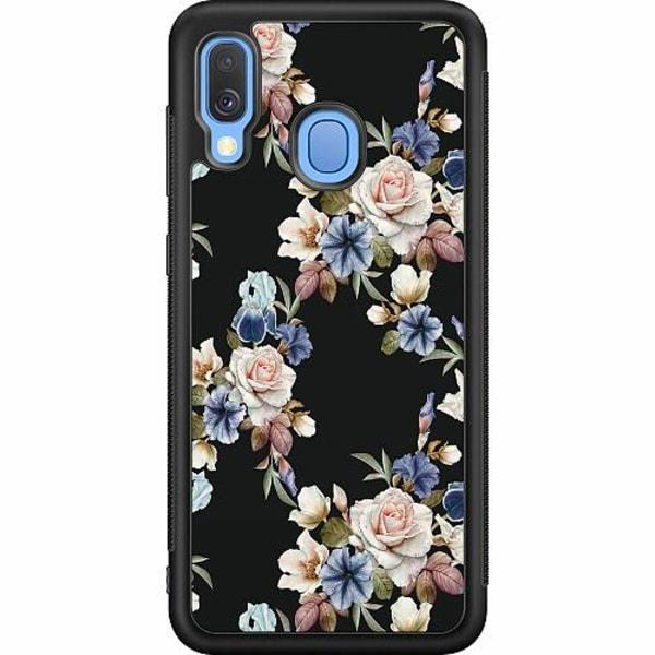 Samsung Galaxy A40 Soft Case (Svart) Floral