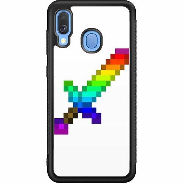 Samsung Galaxy A40 Soft Case (Svart) MineCraft Rainbow