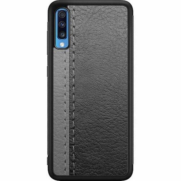 Samsung Galaxy A70 Soft Case (Svart) Black & Grey Leather