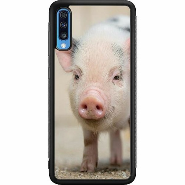 Samsung Galaxy A70 Soft Case (Svart) Happy Pig