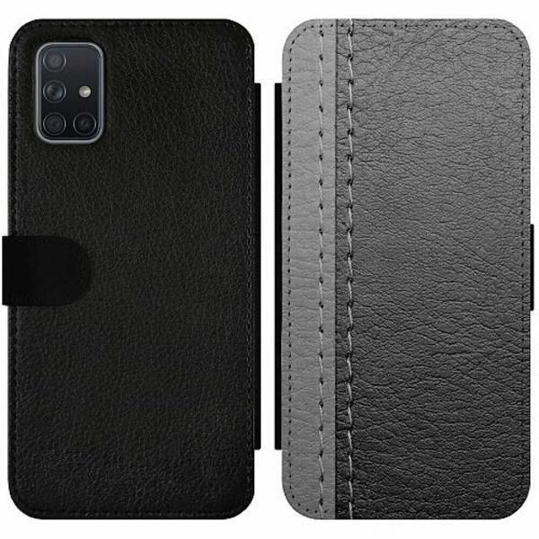 Samsung Galaxy A71 Wallet Slim Case Black & Grey Leather