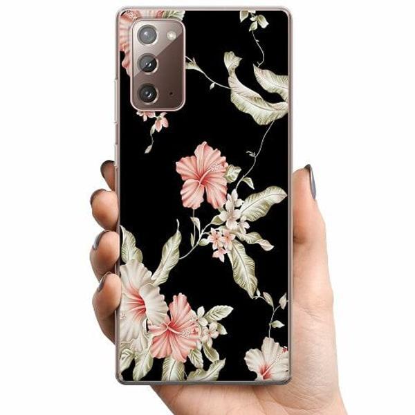 Samsung Galaxy Note 20 TPU Mobilskal Floral Pattern Black